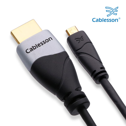 Cablesson Ivuna High Speed Micro HDMI to HDMI Cable with Ethernet 2m (HDMI Type D) compatible with HDMI 2.1, 2.0a, 2.0, 1.4a - 4k, Ultra HD, ARC, HDR, 2160p - Black - hdmicouk