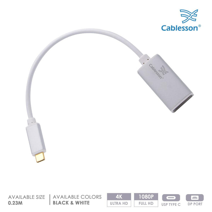 "Cablesson USB Type C (M) to DisplayPort (F) Adapter 0.23M 4K@60Hz (DP v1.2a UHD Thunderbolt 3 Compatible) MacBook 12"" Chromebook Pixel Asus Zen AiO PC Dell XPS 12/13/15 Type C Enabled Devices - White"