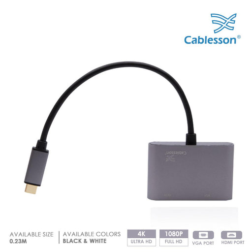 Cablesson USB Type C (M) to HDMI + VGA (F) adapter 0.23M 1080P/4K@30Hz (UHD Thunderbolt 3 Compatible) for MacBook 12, 2016 2017 MacBook Pro 13 15 Chromebook Dell HP More Type C Device - Black