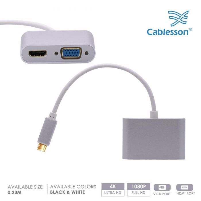 Cablesson USB Type C male to HDMI + VGA female adapter with aluminum shells 0.23M 1080P/4K at 30Hz (UHD, 4Kx2K, Thunderbolt 3 Compatible) for MacBook 12,2017 MacBook Pro 13 15