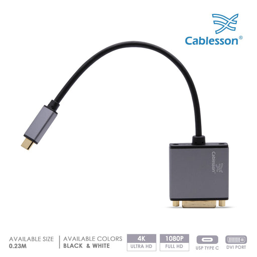 Cablesson USB Type C male to DVI female adapter with aluminum shells 0.23M 4K@30Hz (Black)