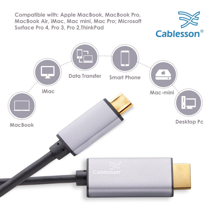 Cablesson 2M USB Type C male to HDMI male adapter cable with aluminum shells 4K at 30Hz (UHD 4Kx2K, Thunderbolt 3 ) Adapter Converter for iMac 2017, Macbook Pro 2017 2016 - Black