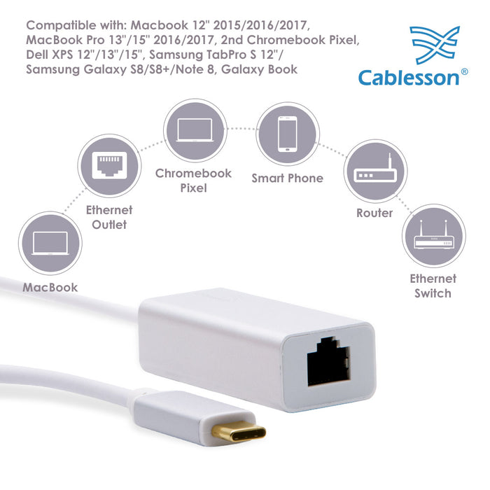 Cablesson USB Type C male to RJ45 adapter with aluminum shells 0.23M support 1000Mb (Gigabit LAN Network Port Connector Adaptor Converter Cable Wire Cord) for Type C Devices - White
