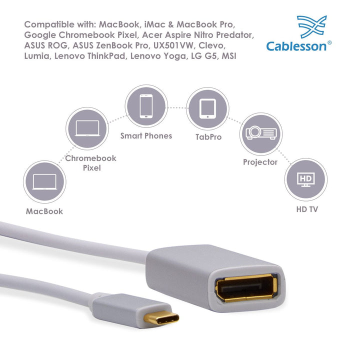 Cablesson USB Type C to DP Adapter 0.23m - Male to Female - 4K@60Hz
