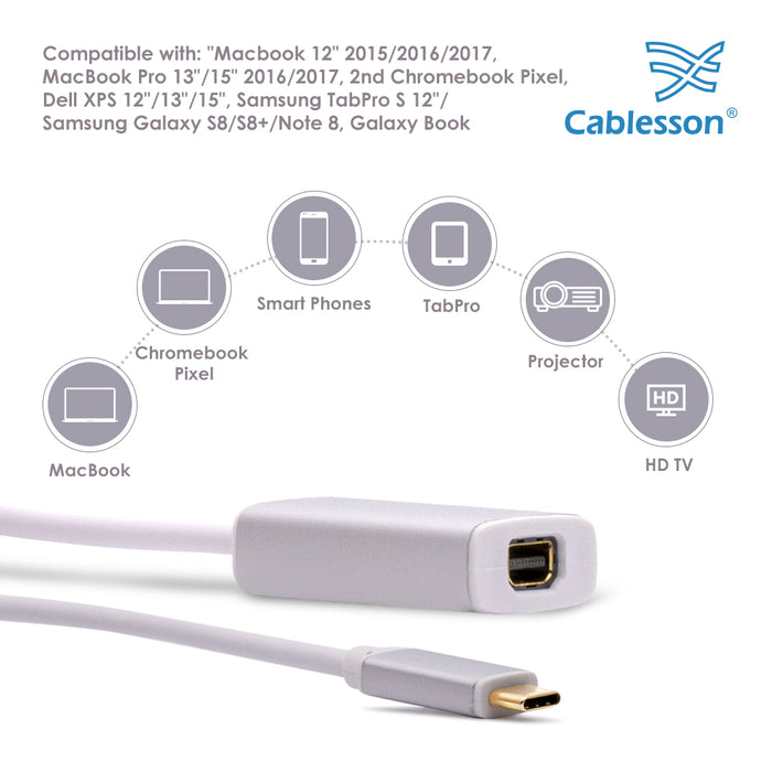 Cablesson USB Type C male to Mini DisplayPort female adapter with aluminum shells 0.23M 4K at 60Hz (UHD, 4Kx2K, Thunderbolt 3 Compatible) for MacBook 12,2017 MacBook Pro 13 15