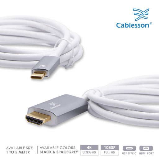 Cablesson 3M USB C (m) to HDMI 2.0 (m) adapter cable 4K@60Hz (Thunderbolt 3) Compatible with iMac 2017, Macbook Pro 2016/17, Samsung Galaxy S9/8 Plus, Huawei P20 Mate 10, Lenovo Yoga 900 SpaceGrey