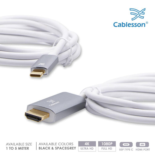 Cablesson USB Type C to HDMI 2.0 Adapter Cable - Male to Male - 4K@60Hz