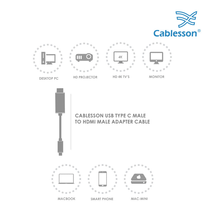 Cablesson 5M USB C (m) to HDMI 2.0 (m) adapter cable 4K@60Hz (UHD Thunderbolt 3) Compatible with iMac 2017, Macbook Pro 2016/17, Samsung Galaxy S9/8 Plus, Huawei P20 Mate 10, Lenovo Yoga 900 - Black