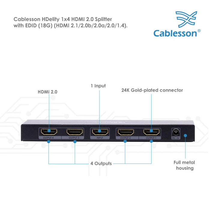 Cablesson HDelity HDMI 2.0 1x4 Splitter with EDID (18G)