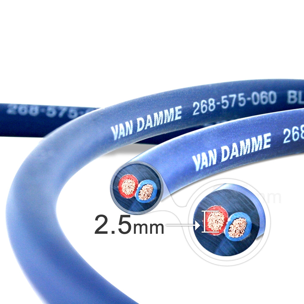 Van Damme Professional Blue Series Studio Grade 2 x 2.5 mm (2 core) Twin-Axial Speaker Cable 268-525-060 1 Metre / 1M - hdmicouk