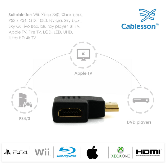 2 Pack Cablesson Vertical Flat Left 90 & 270 Degree HDMI Adapter
