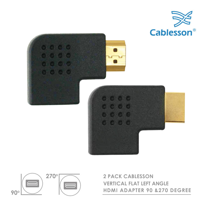 Cablesson HDMI 2.0 Adapter - Vertical Flat Left 270 & 90 Degree - 2 Pack