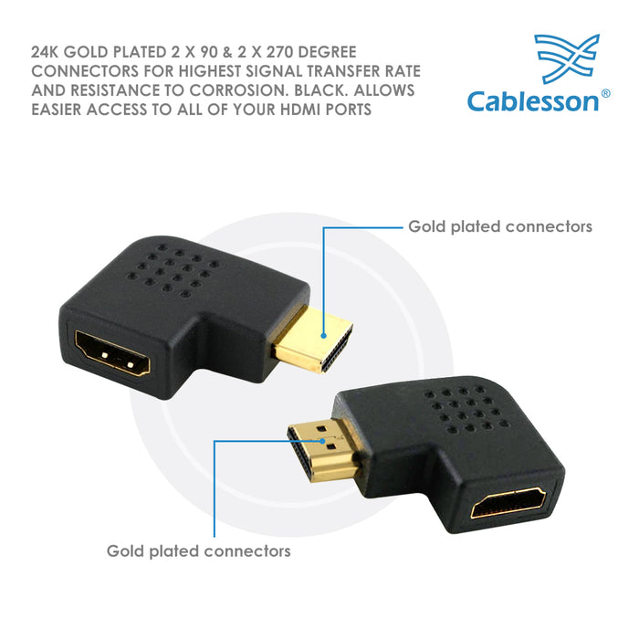 Cablesson HDMI 2.0 Adapter - Vertical Flat Left 270 & 90 Degree - 4 Pack