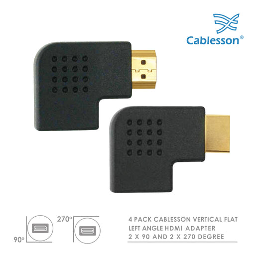 4 Pack Cablesson Vertical Flat Left 2 x 90 & 2 x 270 Degree HDMI Adapter