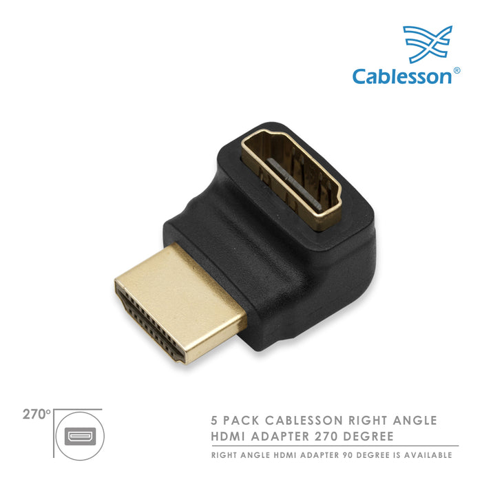 5 Pack Cablesson Right Angle 270 HDMI Adapter