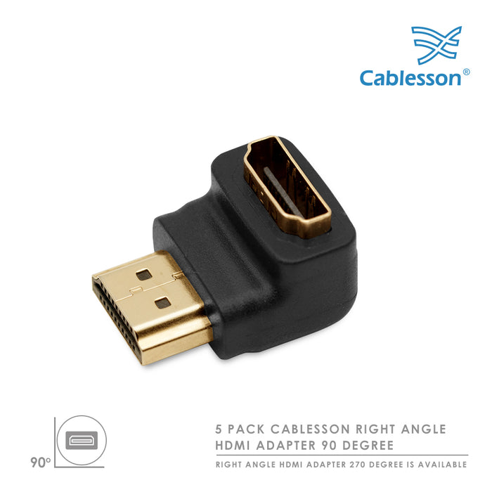 Cablesson HDMI 2.0 Adapter - Right Angle 90 Degree - 5 Pack