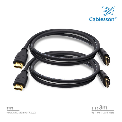 2 Pack Basic 3m High Speed HDMI Cable with Ethernet - Black