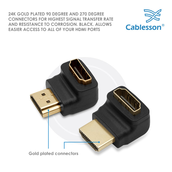 2 Pack Cablesson Right Angle 90 & 270 Degree HDMI Adapter