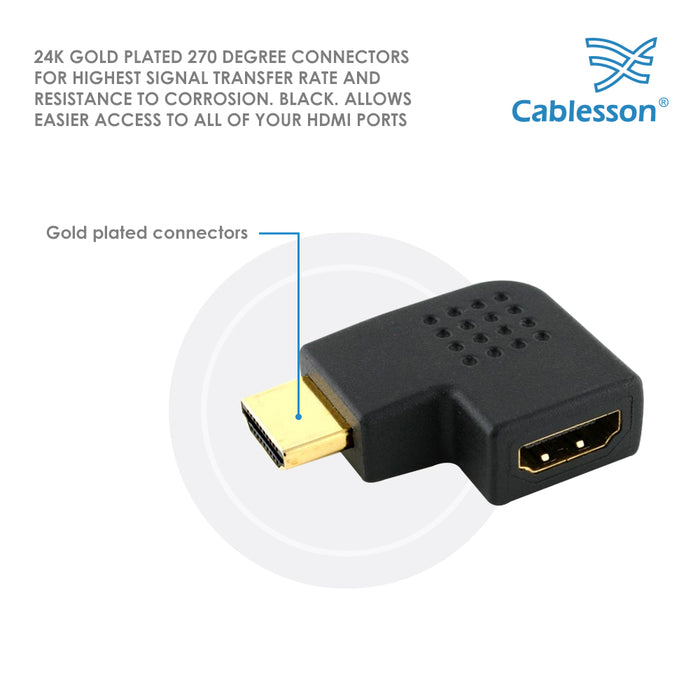 Cablesson HDMI 2.0 Adapter - Vertical Flat Left 270 Degree - 5 Pack