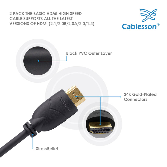 Cablesson Basic High Speed HDMI 2.0 Cable with Ethernet | 2m - Male to Male - 2 Pack