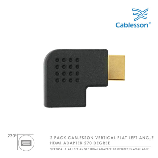 Cablesson HDMI 2.0 Adapter - Vertical Flat Left 270 Degree - 2 Pack