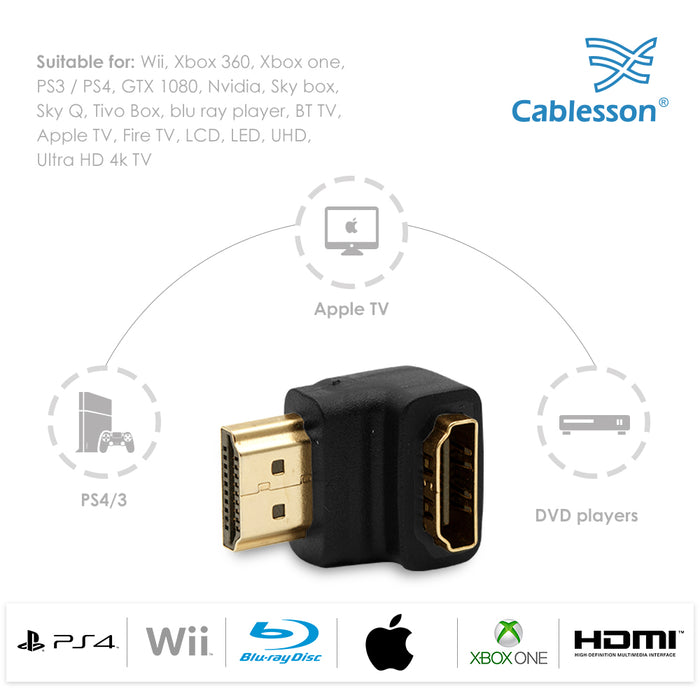 Cablesson HDMI 2.0 Adapter - Right Angle 90 Degree - 2 Pack