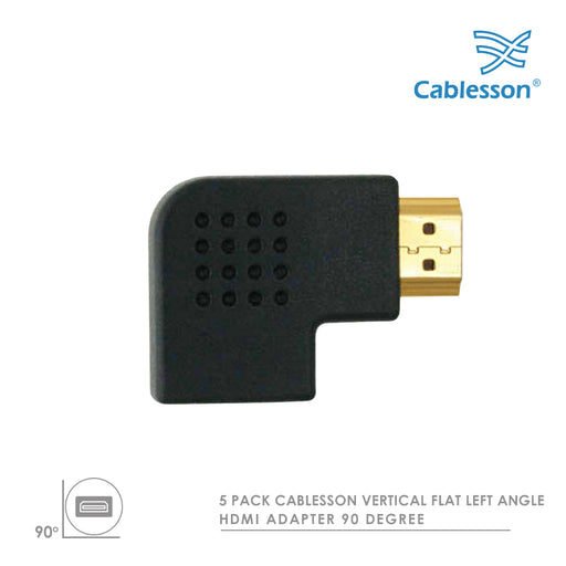 5 Pack Cablesson Vertical Flat Left 90 Degree HDMI Adapter