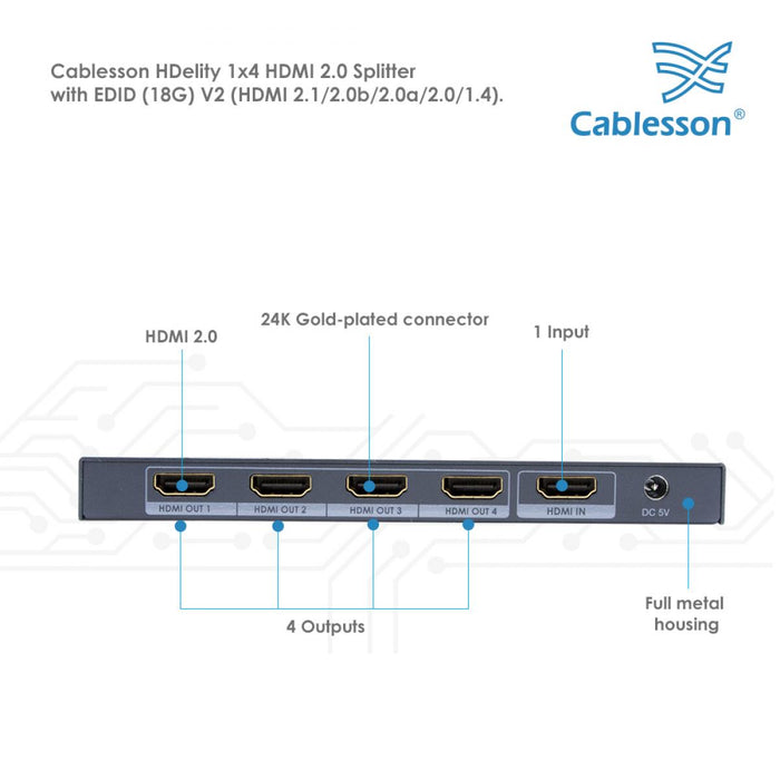 Cablesson HDMI 2.0 UHD 1x4 Splitter With EDID (18G)