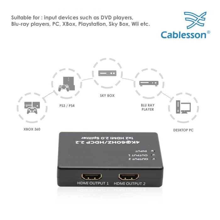 Cablesson HDelity 1x2 HDMI Splitter UHD (PIGTAIL)