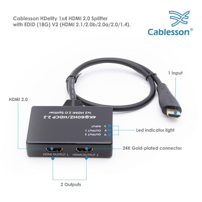 Cablesson HDelity HDMI 2.0 UHD 1x2 Splitter (PIGTAIL)