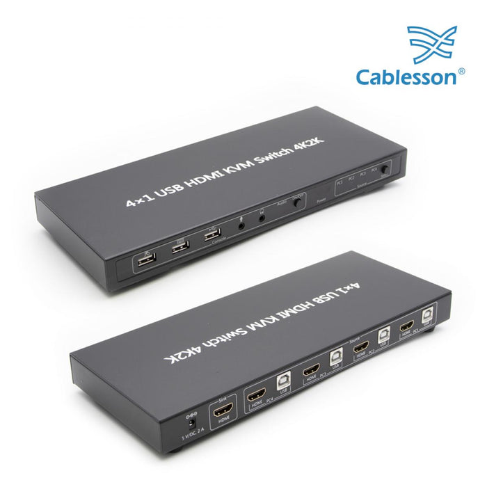 Cablesson - USB 3.0 HDMI 2.0 KVM 4x1 HDMI Switch - 4K2K