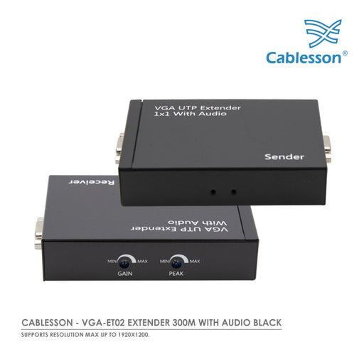 Cablesson - VGA-ET02 Extender 300M With Audio BLACK