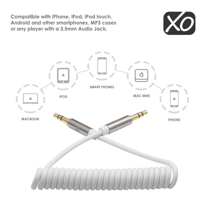 XO - 3.5mm Male to Male 2M (with spring cable) - White