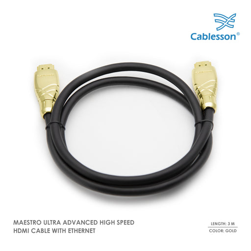 Maestro 3m Ultra Advanced High Speed HDMI Cable with Ethernet - Gold