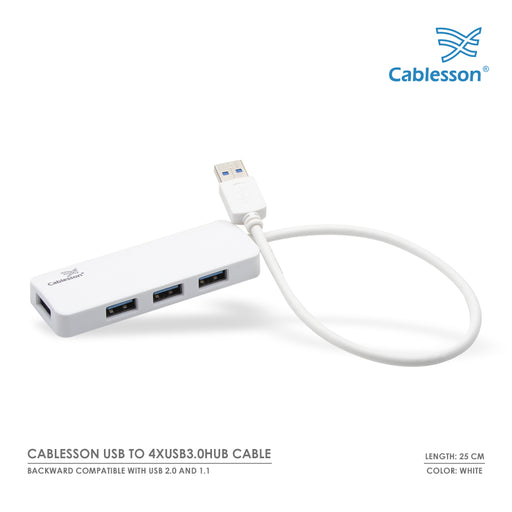 Cablesson USB to 4 x USB 3.0 HUB Cable - White