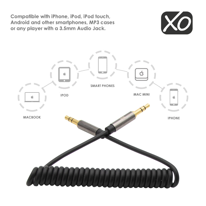 XO - 3.5mm Male to Male 2M (with spring cable) - Black