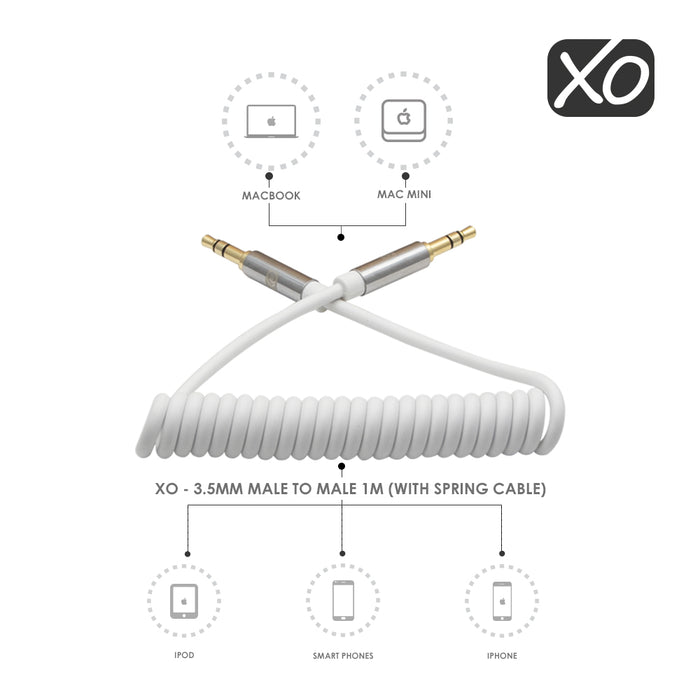 XO - 3.5mm Male to Male 1M (with spring cable) - White