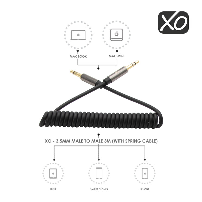 XO - 3.5mm Male to Male 3M (with spring cable) - Black