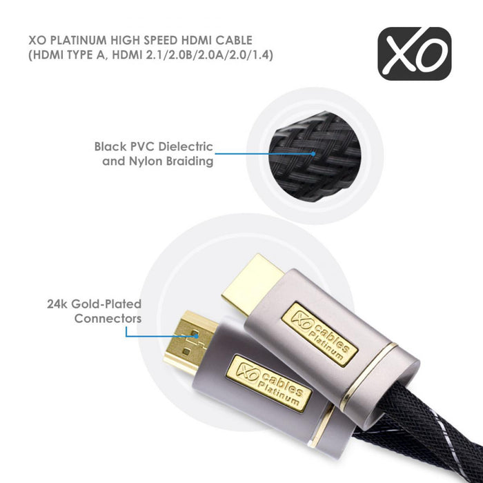 XO Platinum 10m High Speed HDMI Cable with Ethernet - Silver