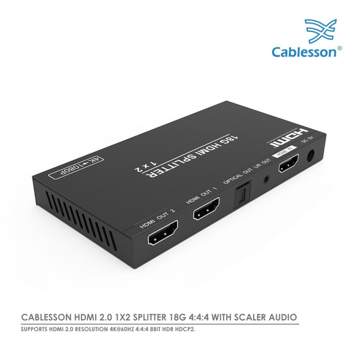 Cablesson 1x2 HDMI Splitter 18G 4:4:4 with Scaler Audio