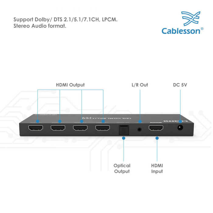 Cablesson 1x4 HDMI Splitter 18G 4:4:4 with Scaler Audio