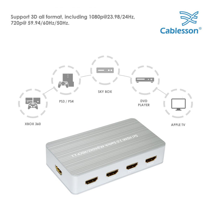 HDElity 5X1 HDMI 2.0 Switch HDMI 2.0 Switch 5 Input 1 Output Support 4K@60Hz