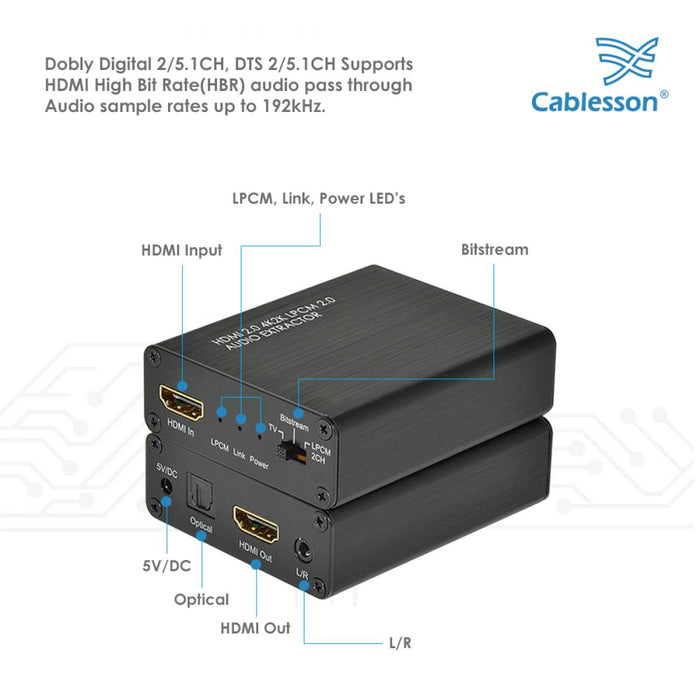 HDElity HDMI 2.0 Audio Extractor 4K2K HDMI - Optical Toslink Converter ARC 3D