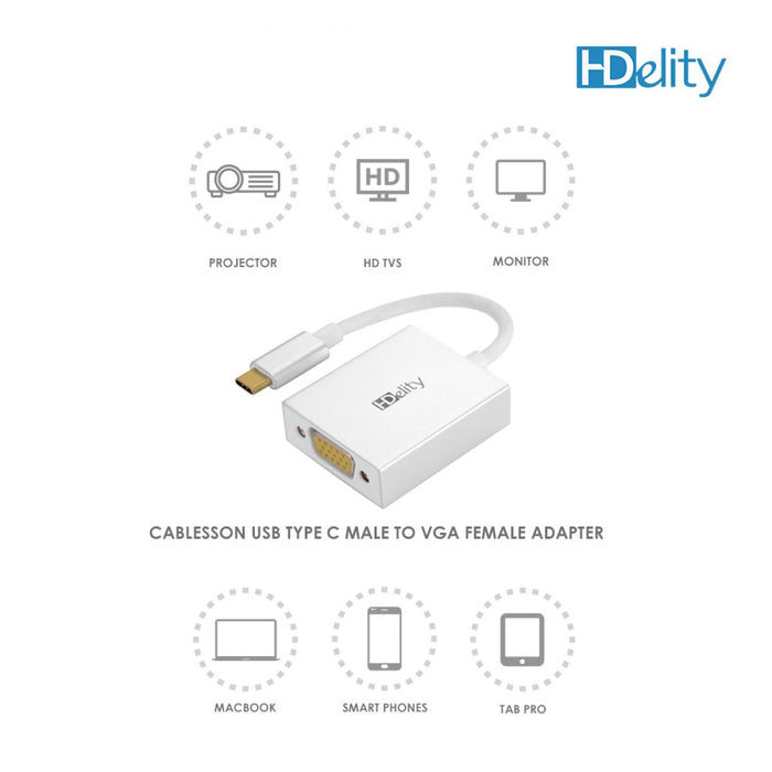 HDElity USB Type C Male to VGA Female Adapter-White