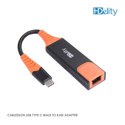 Cablesson USB Type C to RJ45 Adapter - Male to Female - Orange/Black
