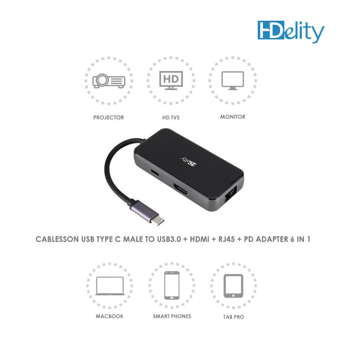 Cablesson USB HUB Type C to 3 x USB 3.0 + HDMI 2.1 +RJ45 + PD Adapter - 6 in 1