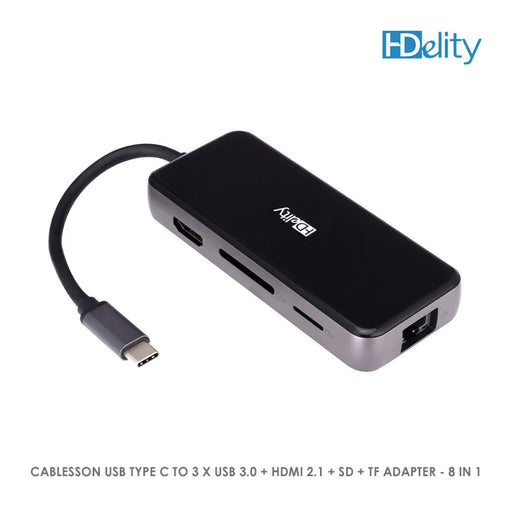 Cablesson USB HUB Type C to 3 x USB 3.0 + HDMI 2.1 + SD + TF Adapter - 8 in 1