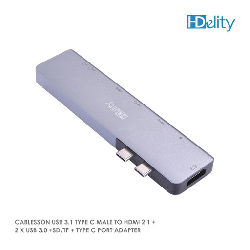 Cablesson USB HUB 3.1 Type C Male to HDMI 2.1 + 2 x USB 3.0 +SD/TF + Type C Port Adapter