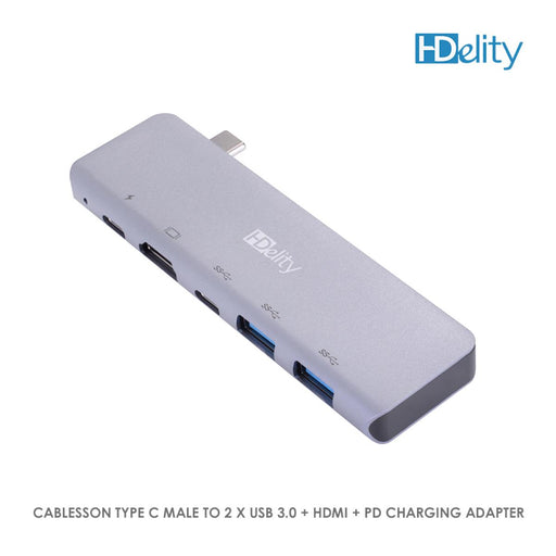 Cablesson USB HUB Type C Male to 2 x USB 3.0 + HDMI + PD Charging Adapter
