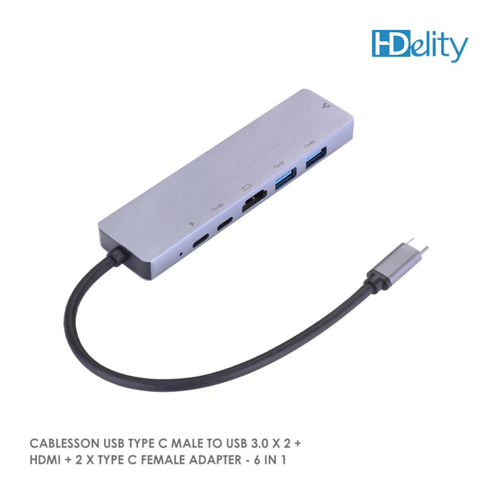 Cablesson USB Type C Male to USB 3.0 x 2 + HDMI + 2 x Type C Female Adapter - 6 in 1